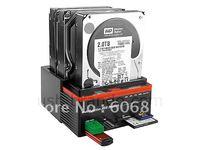 "free shipping HDD Docking Station, triple 3.5""/2.5"" SATA HDD dock / Docking station card reader USB HUB"