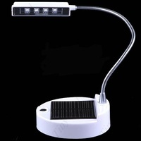 7365  Free Shipping 4 LED Solar Power Flexible Desktop Reading Light Lamp 20pcs/lot