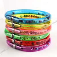Wholesale - 60 Mixed Collorful Plastic Beads Bracelet Bangle Ball Wristlet Useful Pen For Kids Gifts 260204