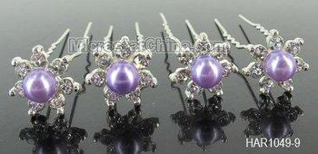 20pcs Wedding Bridal Diamante Glass Pearl Hair Pins Clips 9 Colors! Free Shipping