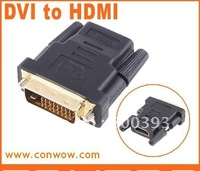 HDMI 19P/F-DVI24+1/M , Gold Plated DVI Male To HDMI Female Adapter Converter, Free Shipping