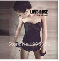 Autumn 2012 Slim European and American style black vest sexy corset bow fish bones wrapped chest shirt Bra sexy lingerie corset