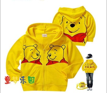 Free shipping lovely pooh comfortable children clothes thin style for autumn and spring wholesale and retail