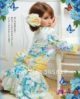 Drop доставка Сексуальные цветочные печати Парикмахерские кимоно белье женщин японские кимоно babydoll пижамы Черный белая роза h8099