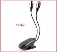 EMS Free Shipping Clip On LED Book Light for Kindle/Nook Color,2 Arm 4 LED Ebook lights