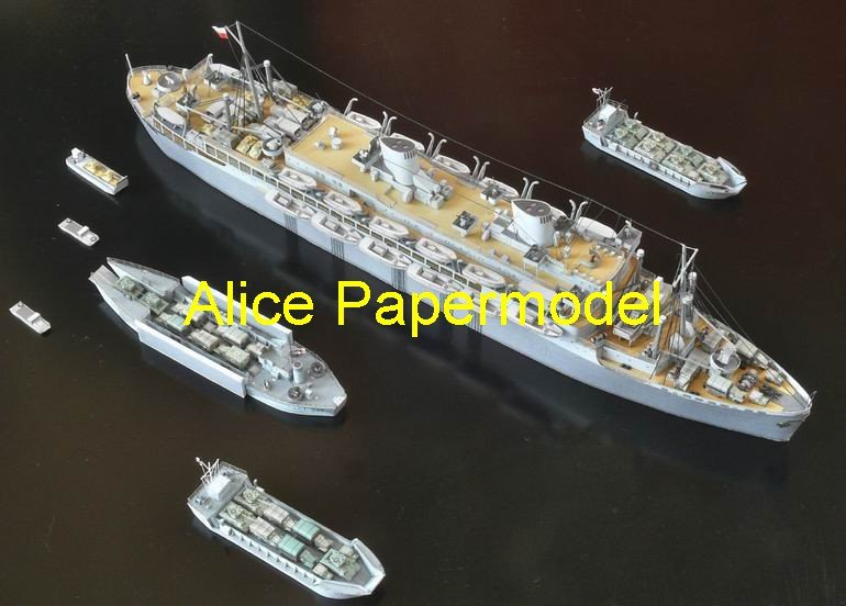 [Alice papermodel] 1:250 WWII Pacific Ocean Transport ship fleet destoryer battleship models(China (Mainland))