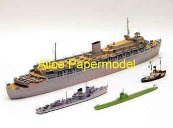 [Alice papermodel] 1:250 WWII sms Transport ship submarine destoryer tugboat fleet battleship fleet models