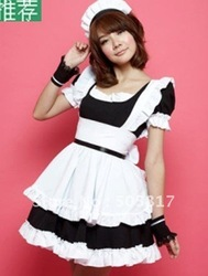 15% OFF!! High Quality!!! free shipping Sexy French maid costume classic Halloween dress club wear Pink/black PE113(China (Mainland))