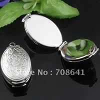 Silver Plated Bronze Brass 4-layer Flower Oval Photo Frame Locket Pendant Diy Jewelry Findings Settings Wholesale, Free Shipping