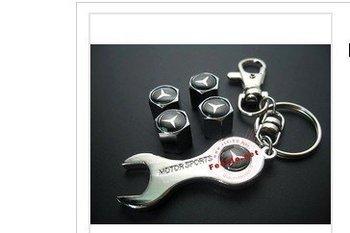 Benz logo Car Tire Valve Caps 4pcs + wrench key chain