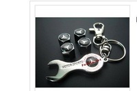 Benz logo Car Tire Valve Caps 4pcs + wrench key chain
