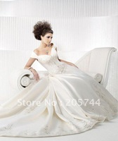 2011 new satin A-Line Princess Off the Shoulder Cathedral beading Embroidered Bridal Gown wedding dress