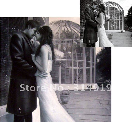 Guaranteed 100% Handmade Portrait Painting,Wedding Painting on Canvas as Christmas Gift-Free Shipping(China (Mainland))