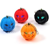12pcs/lot Free shipping Portable Mini Rechargeable Pumpkin Speaker TF Card Red
