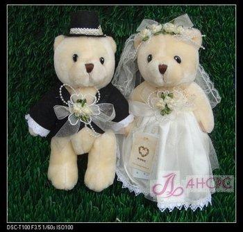 Free Shpping! 25cm bride and bridegroom wedding teddy bear,couple wedding gift/wedding accessories