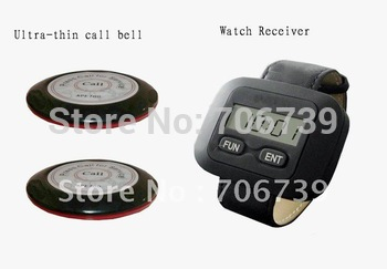 waiter paging system,sample set,10pcs of table bell and 1 pcs of wrist watch reciever