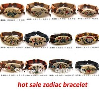 BL-39 12 ZODIAC SYMBOL & pottery clay surfer bracelet JEWELRY - pottery clay & LEATHER SIGN BRACELET