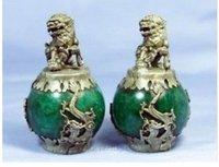 Pair Asian Tibetan Jade Kirin Dragon Statues 100% free shipping