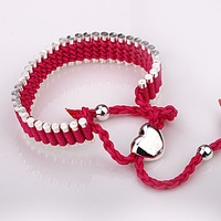 Free shipping by HK post! Wholesale charm bracelet .Hand weaving rope bracelet.925 sterling silver jewelry IMG0660