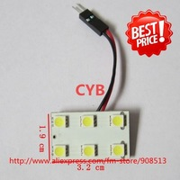 Wholesale 50pcs/lot Car dome light 6LED 5050 SMD LED light panel White color T10 and Dome light adapter