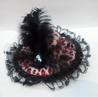 Free shipping!! Wholesale-24pcs/lot,Fashion Mini Top hat hair clips with feather party hair Accessories