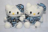 Free shipping 2 pair/lot portable grid plush Hello Kitty doll mini speaker