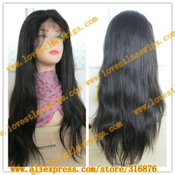 100% chinese virgin hair natural color natural straight long full lace wig with baby hair(China (Mainland))