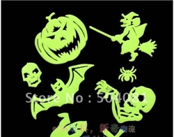 new arrival GLOW IN THE DARK Halloween Stickers Decor HIGH Quality/Luminous patch / fluorescent stickers / wall ornaments(China (Mainland))