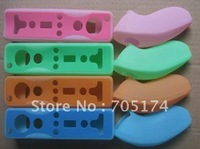 20set/Lot Double color Silicone protection Case for wii Remote + Nunchuck