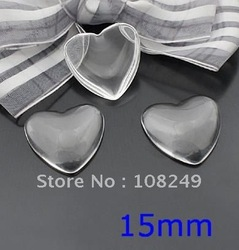 free shipping,200pcs 15mm Heart Shape Clear Cabochon, Magnifying glass domes,clear glass cabochons(China (Mainland))