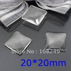 free shipping,200pcs 20*20mm Square Shape Clear Cabochon, Magnifying glass domes,clear glass cabochons(China (Mainland))