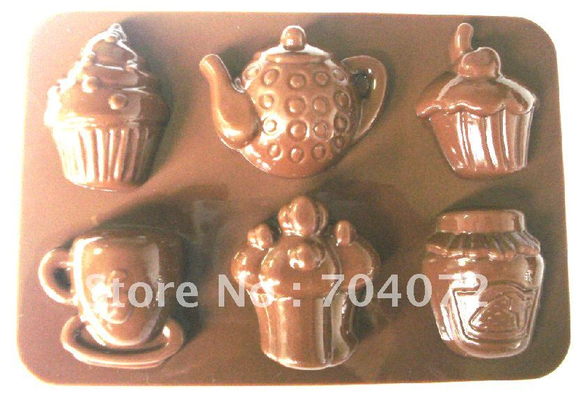 free shipping 1pc muffin pan non-stick bakeware 8 cups cake chocolate forest leafs cookie Icecream silicon baking mold