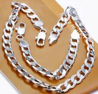 925 silver 12MM Width Figaro Chain men chain heavy necklace bracelet wholesale jewelry set