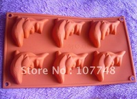 Soap Molds Cake Molds 6-Dolphin Toast Molds Christmas Gift Flexible Silicone Mold/Mould For Soap Candle Candy  Jelly Cake Craft
