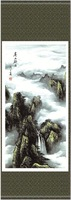 """So beautiful 140*45 Chinese Silk Painting""""hill in rain""""SS-054 for room interior decoration ,New Arrivals,Free shipping,10% off"""