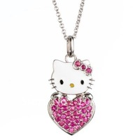 free shipping fashion reseo color heart shape hello kitty crystal pendant necklace