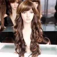 Beautiful long Pretty human made hair women's full wig/wigs Free shipping