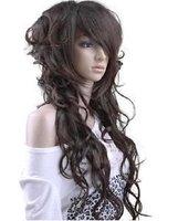 Beautiful long Sexy long hair dark brown curly lady wig/wigs Free shipping