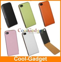 For iPhone 4 4S Leather Case,Flip Real Genuine Leather Case Skin Pouch for iPhone 4 4g 4th 100pcs free shipping ipac184