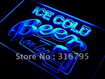 i912-b Ice Cold Beer on Tap Bar Neon Light Sign