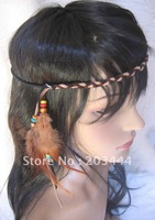 Free shipping Natural Real Feather Native American Indian style Headbands Assorted Colors Leather feather  jewelry