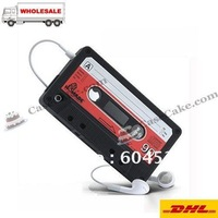 100pcs/lot  Cassette tape  For iphone 4 silicone cases cover  Mix Colore  DHL free shipping