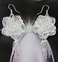 Hot wholesale! Free shipping wholesale fashion earrings, 925 sterling silver earrings.Large flowers earring E29
