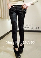 free shipping nwt! fashion sexy lady lifelikejean hot pants leggings with lace skinny jeans s,m,l