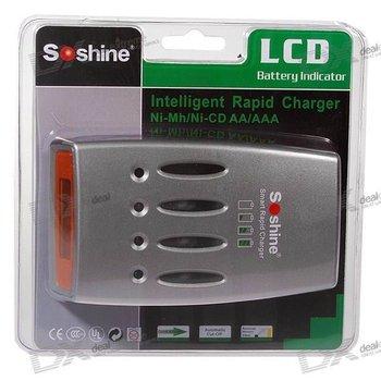 free shipping wholesale Soshine Hi-Tech LCD NiMH / NiCD Super Quick Charger/sku:413