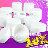 Free Shipping 100pots/set 5ml white Empty Plastic nail pots Nail Storage uv gel Bottle Jar NA413