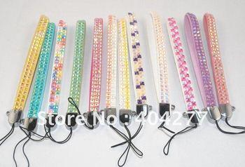 Free shipping,rhinestone/white grid mobile phone strap,30pcs/lot (many colors,13cm*0.9cm)
