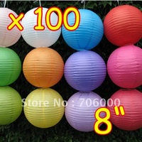 """Wholesale Lots Of 100 Chinese 8"""" Paper Lanterns lamp WEDDING Party XMAS / Christmas DECORATIONS Free EMS Dhl Shipping"""