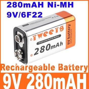 280mAh Battery 280 mAH Ni-MH NiMH 6F22 Rechargeable Battery 9V dropshipping