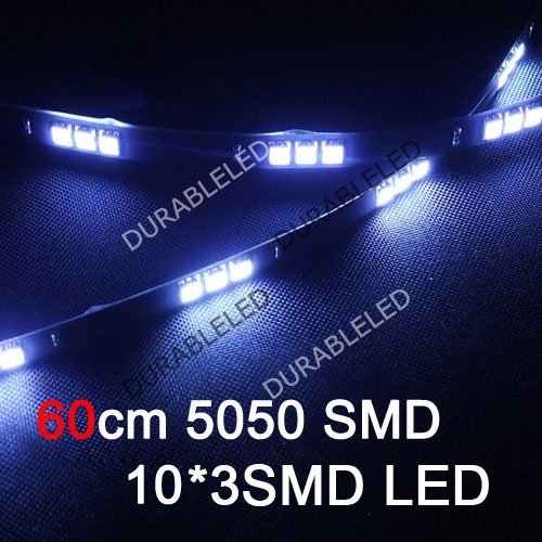 SMD 5050 LED Strip lights car automotive exterior decoration lamps 60cm automobile 30 LED vehicle day time light white 12V 20pcs(China (Mainland))